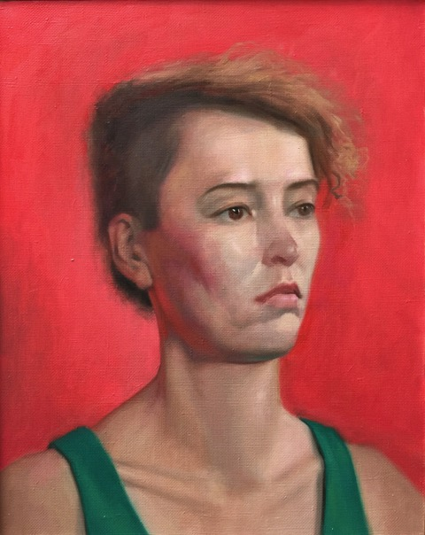 An oil painting of a woman with a short undercut and a neutral expression.